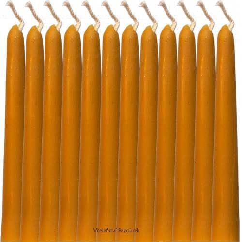 Svíčka ze včelího vosku Dlouhá hladká 12 ks