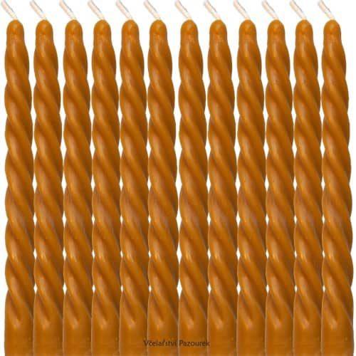 Svíčka ze včelího vosku Dlouhá kroucená 12 ks